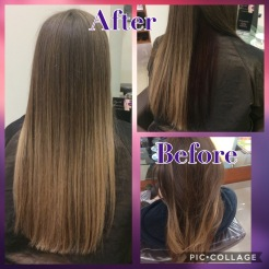 Balayage with dark under layer